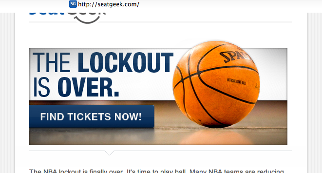 seatgeek email marketing banner, nba lockout over