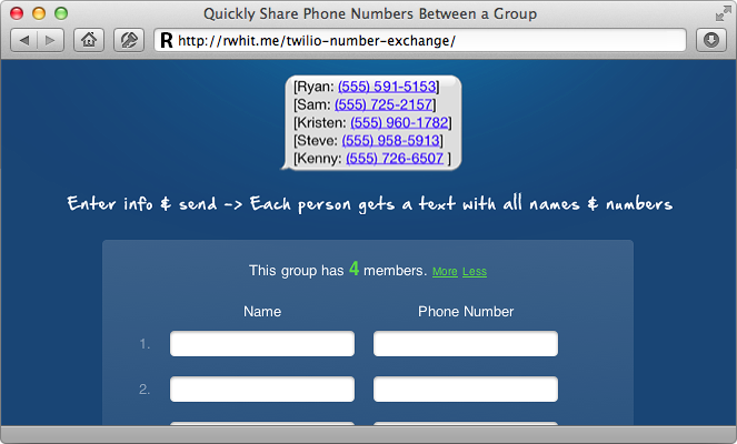 Group phone number exchange app using twilio